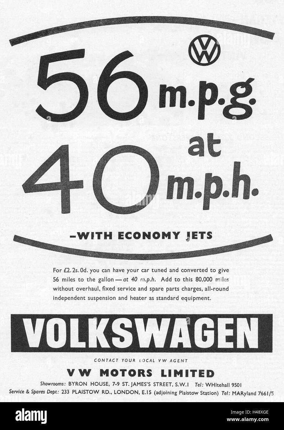Advert for Volkswagen cars from a Motor Sport magazine in 1957. - Stock Image