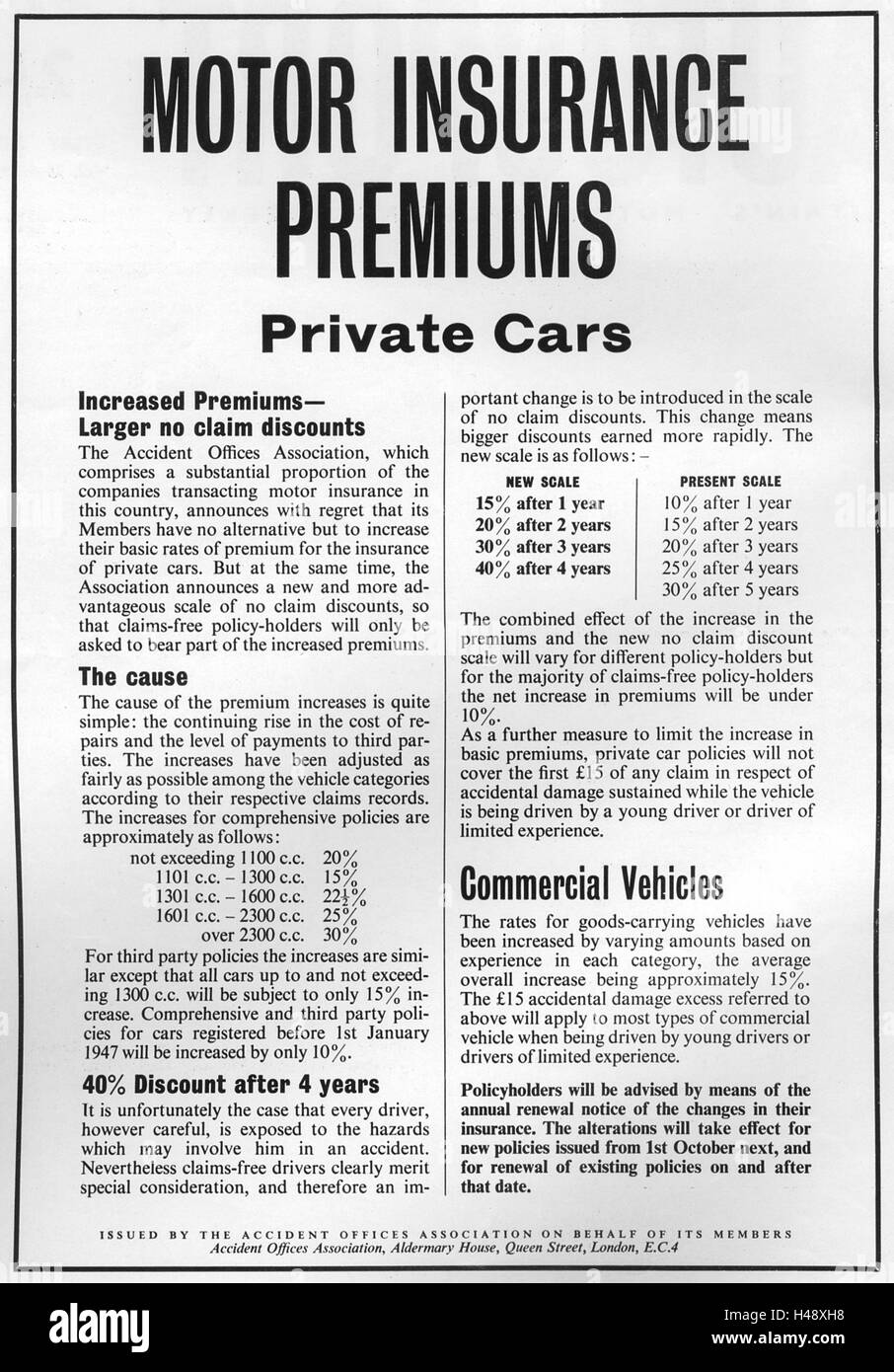 Advert detailing a rise in motor insurance premiums from a Motor Sport magazine in 1957. - Stock Image