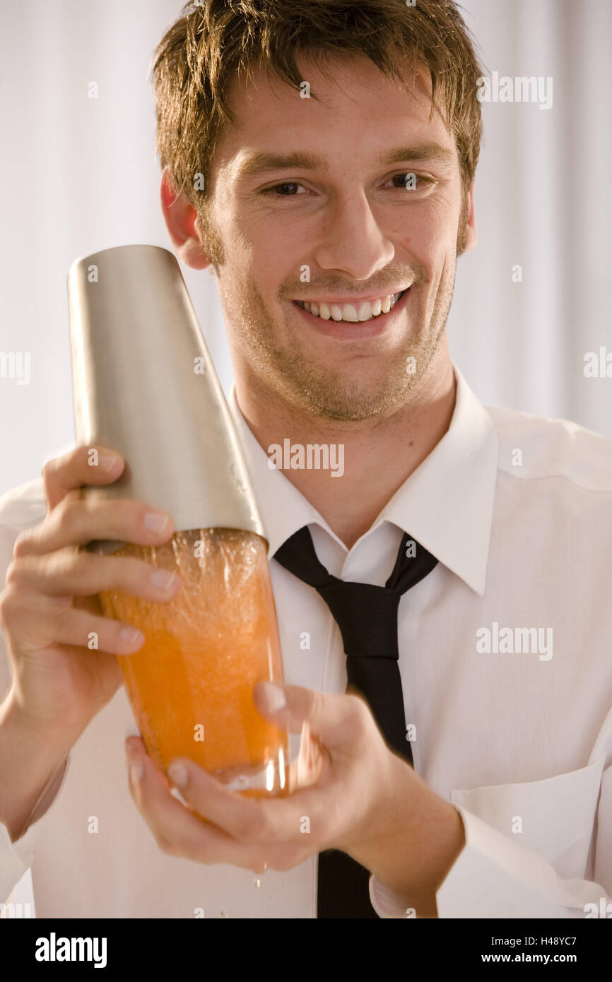 Barkeepers, shakers, smile, portrait, curled, Stock Photo