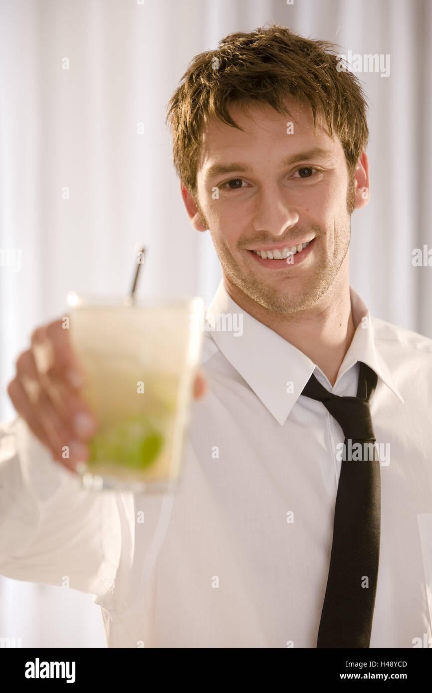 Barkeepers, smile, hold cocktail, Caipirinha, portrait, Stock Photo