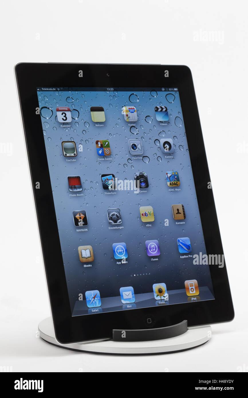 iPad 2, display, Apps, programs, multi-air function, iPad stand, - Stock Image