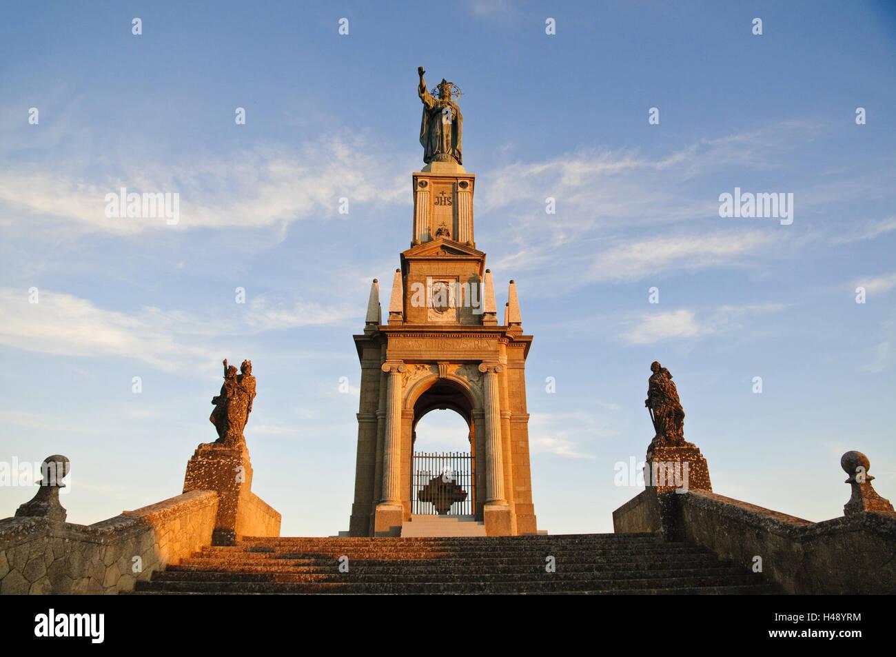 Monastery mountain 'Puig de Sant Salvador', figure of Christ, Majorca, Spain, - Stock Image
