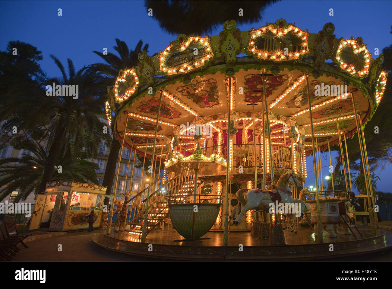 France, Cote d'Azur, Nice, carousel in the park in the promenade the Anglais, - Stock Image