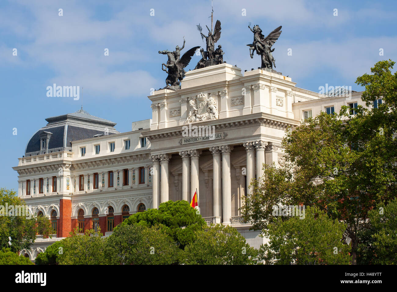 Beautiful government palace facade the Ministry of Agriculture building (Ministerio de Agricultura). Stock Photo