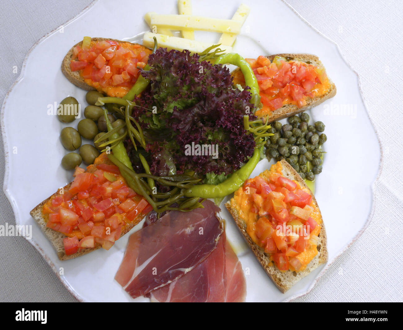Plate with Tapa, snack, food, Majorca, Spain, - Stock Image