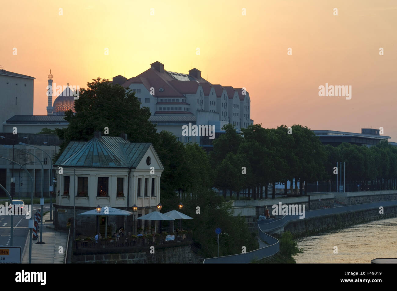 Bastion small castles, Erlweinspeicher, dusk, Dresden, Saxon, Germany, - Stock Image