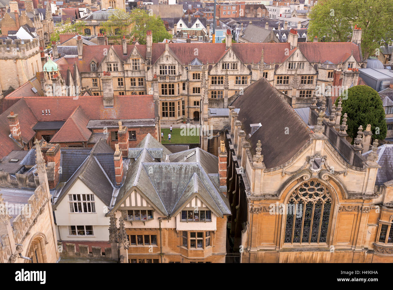 Aerial view of Brasenose College buildings in Oxford, Oxfordshire, England. - Stock Image
