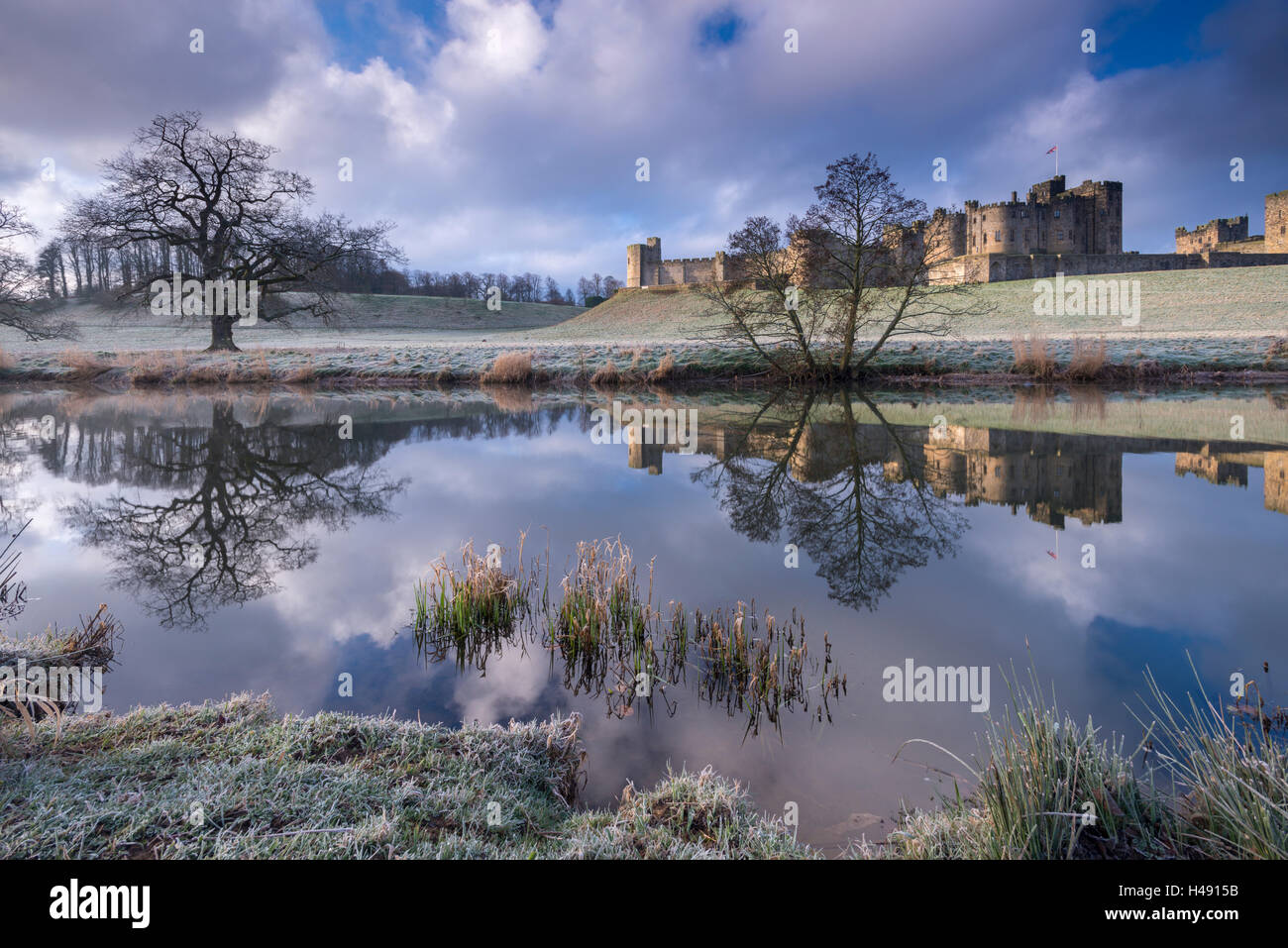 Cold and frosty conditions at Alnwick Castle in Northumberland, England. Winter (March) 2014. - Stock Image