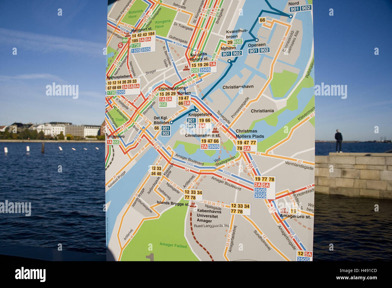 Denmark, Copenhagen, Sydhavnen, town view, city map, detail, capital, town, waters, road map, guidance, tourism, - Stock Image