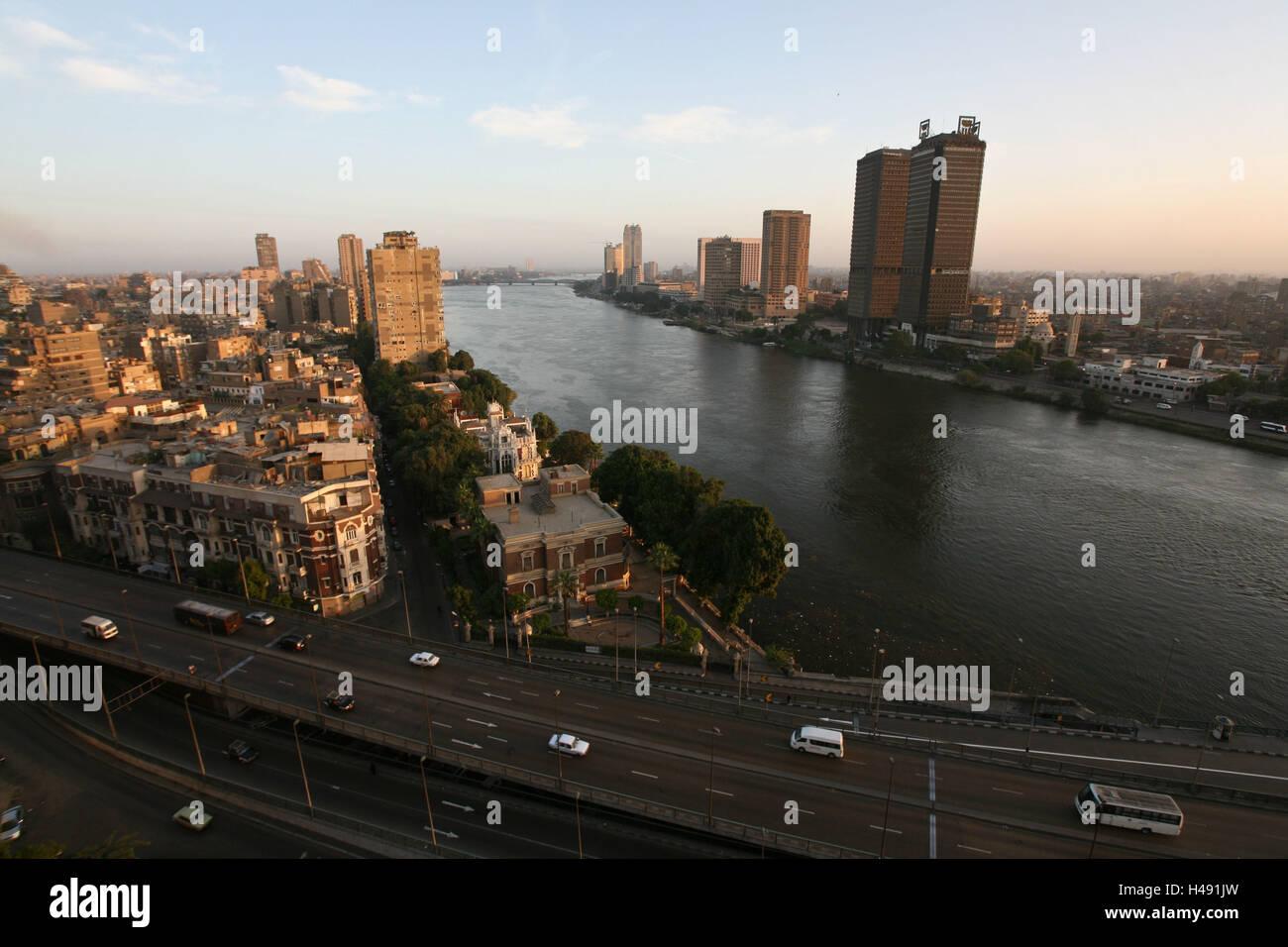 Egypt, Cairo, city centre, the Nile, streets, bridge, evening light, - Stock Image
