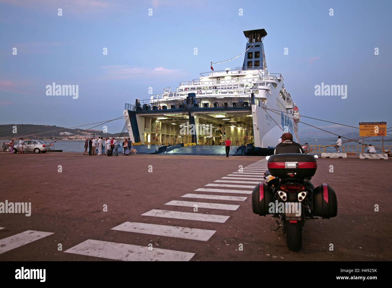 Italy, Sardinia, Olbia, harbour, ferry, dusk, Europe, island, destination, tourism, navigation, ship, landing stage, - Stock Image