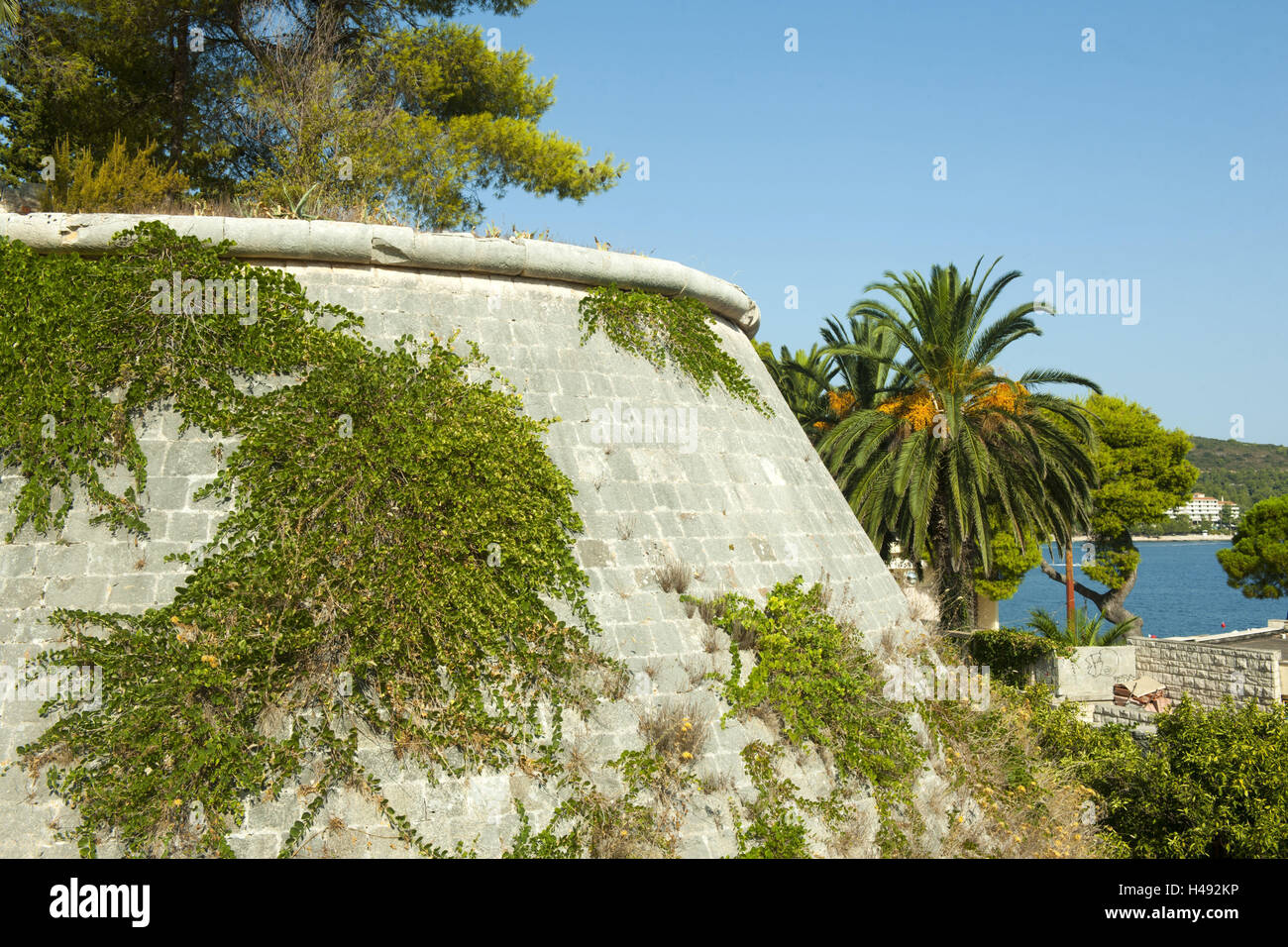 Croatia, Dalmatia, Vis, fortress attack the fortifications established by the Austrians, in 1830, Stock Photo