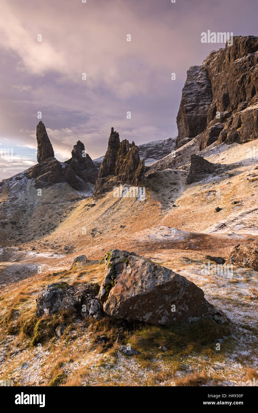 The Old Man of Storr on a winter morning, Isle of Skye, Scotland. Winter (December) 2013. - Stock Image
