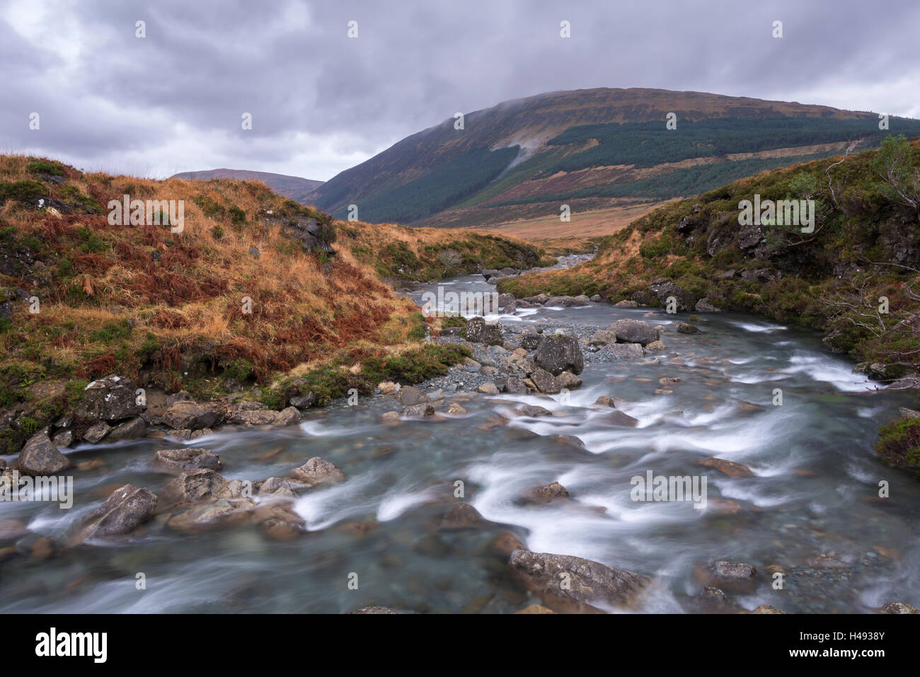 River Brittle running through the Fairy Pools in Glen Brittle on the Isle of Skye, Scotland. Winter (December) 2013. - Stock Image