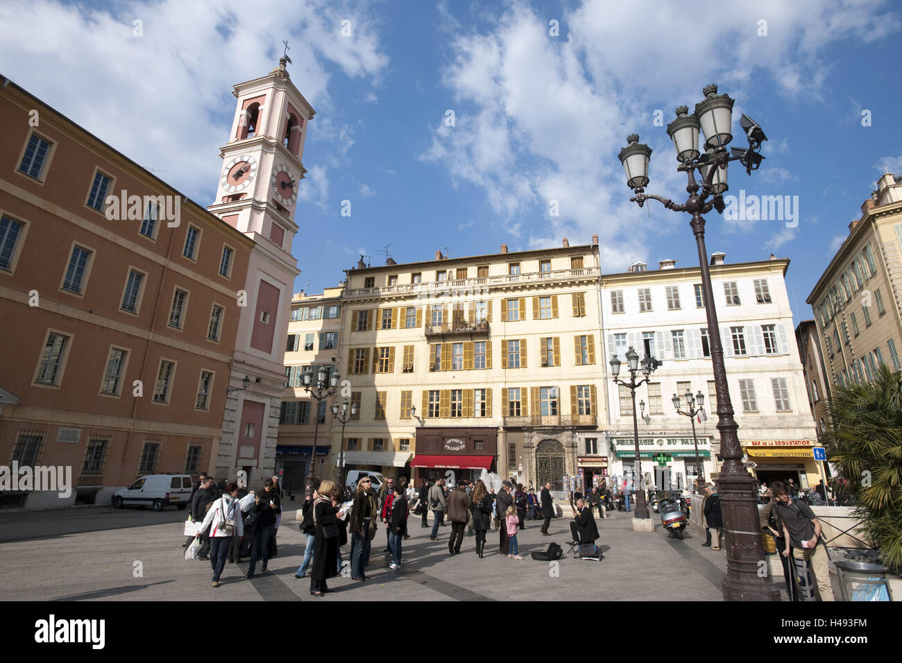 France, Cote d'Azur, Nice, Place you palace in the palace de Justice with the clock tower the palace Rusca, Stock Photo
