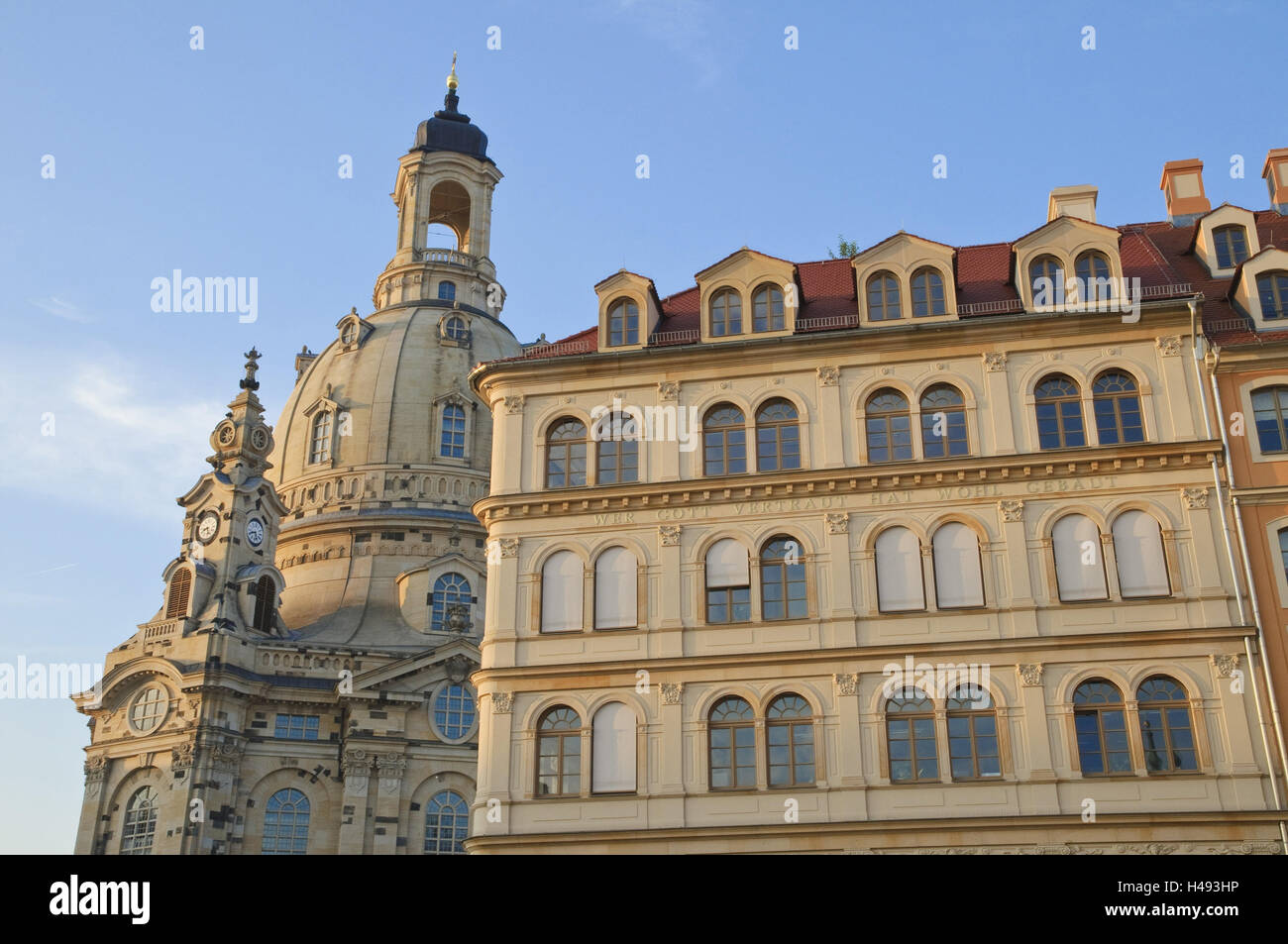 New market, Church of Our Lady, Dresden, Saxon, Germany, Stock Photo