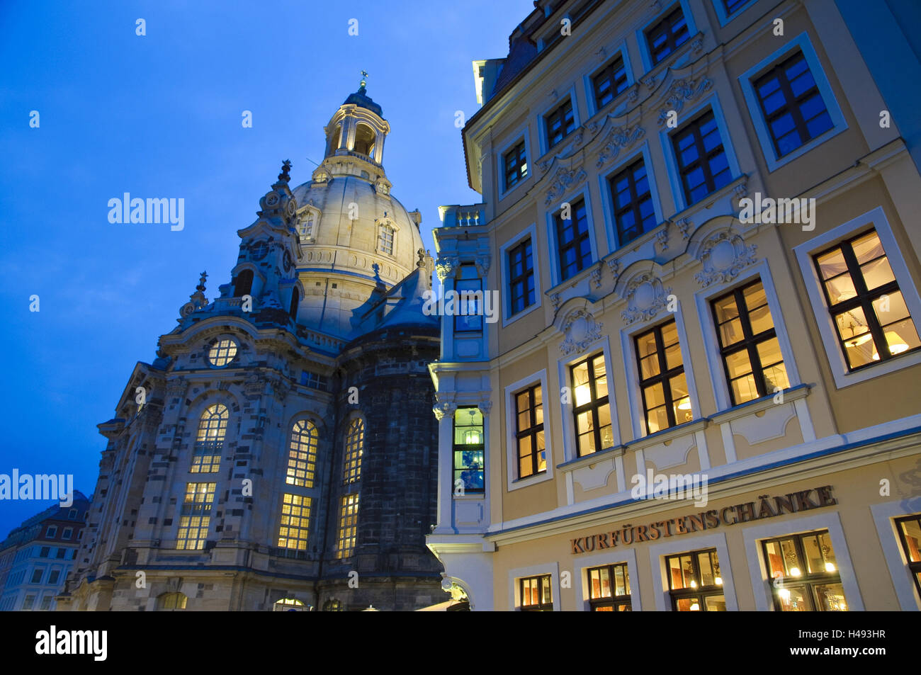 New market and Church of Our Lady, dusk, Dresden, Saxon, Germany, Stock Photo