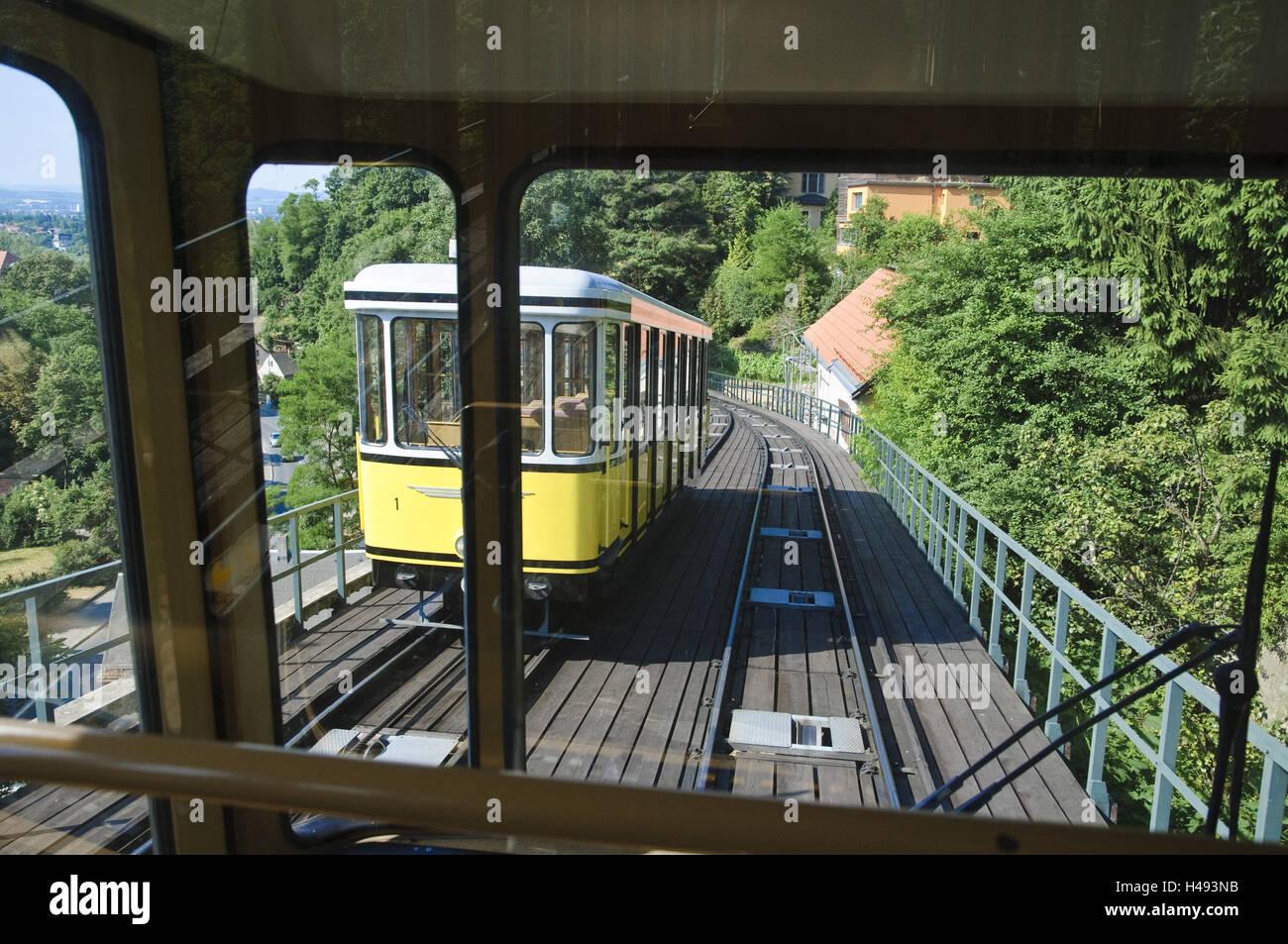 Funicular railway, district Weißer Hirsch, Loschwitz, Dresden, Saxony, Germany, - Stock Image