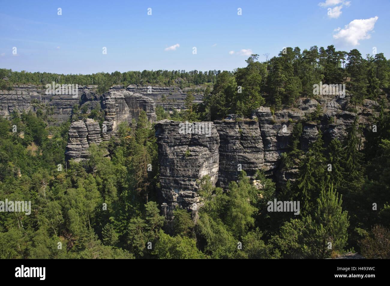 Prebischtor, rock, Elbsandsteingebirge, Böhmische Switzerland, Czechia, - Stock Image