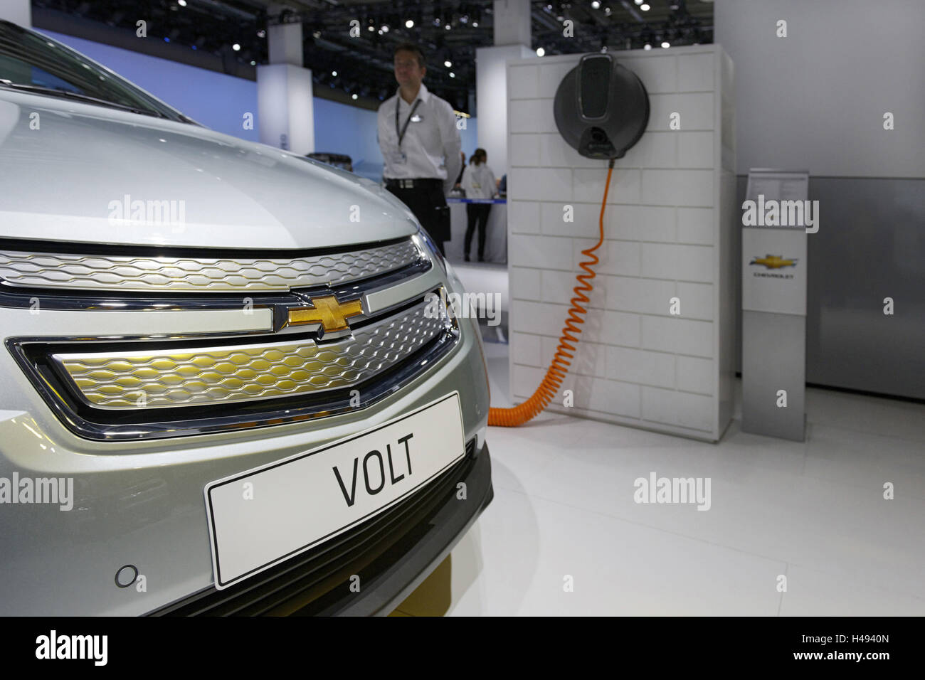 Chevrolet VOLT at a simulated electric charging station, plug-in Hybrid vehicle, International Motor Show, Internationale Stock Photo