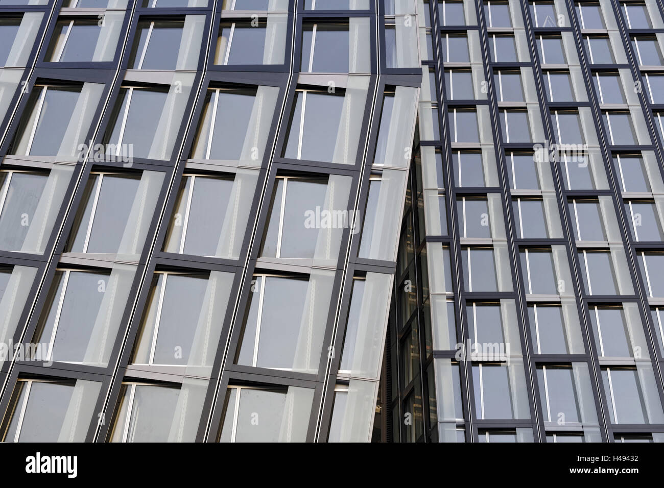 modern architecture, facade, detail, 'Dancing Towers', new office building at the Reeperbahn 1, St Pauli, - Stock Image
