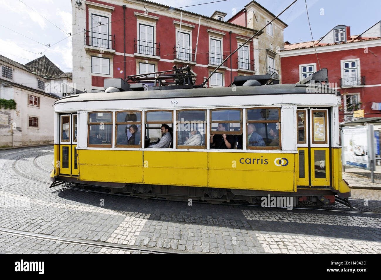 Historical streetcars in the Alfama district, Lisbon, Portugal, - Stock Image