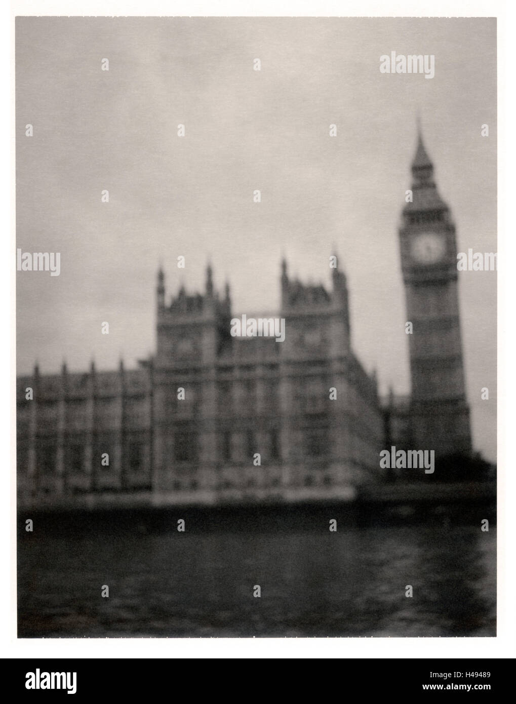 London, Thames, Big Ben and Houses of Parliament, Polaroid photograph, - Stock Image