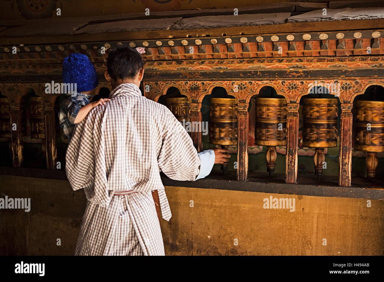 Kingdom of Bhutan, Buddhist, prayer mills, - Stock Image