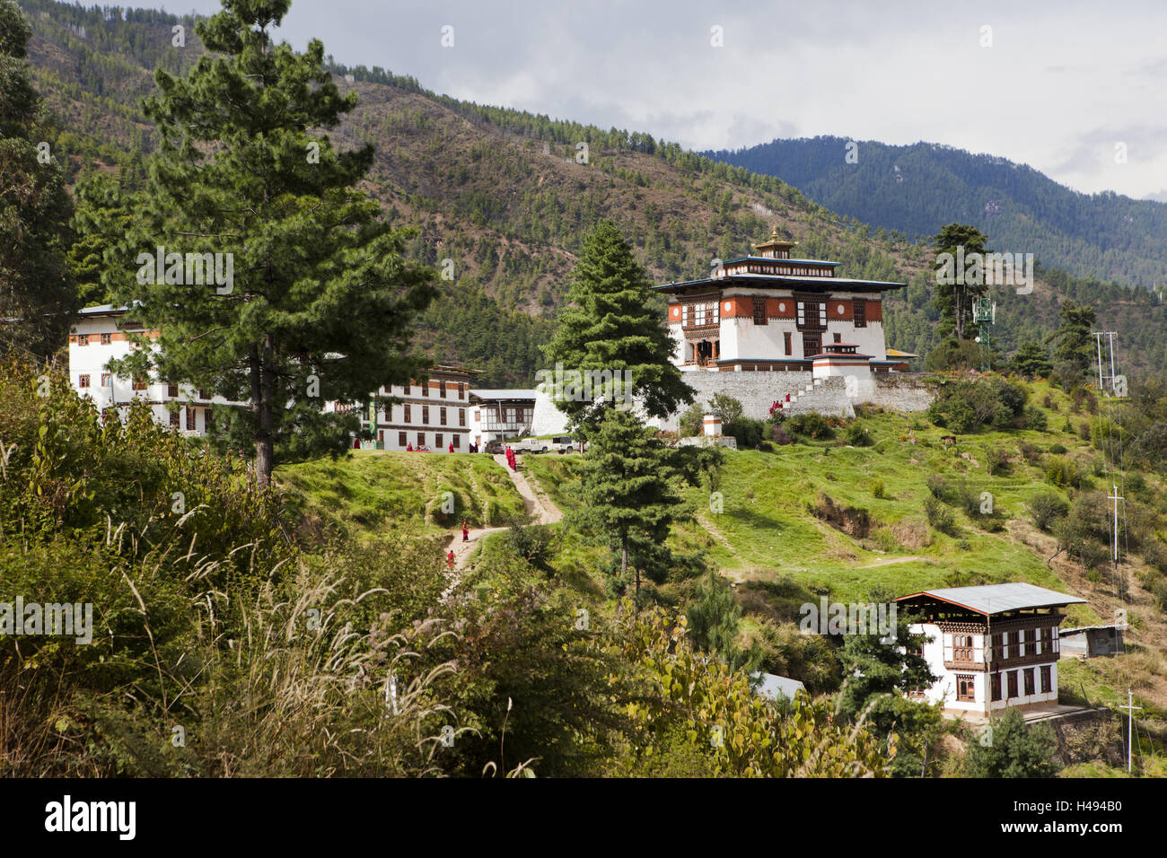 Kingdom of Bhutan, monk's school, - Stock Image