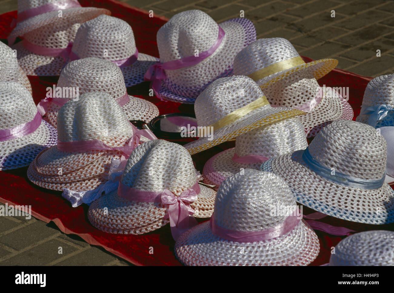 Street sales, summer hats, summers, vacation, holidays, sales, trade, hats, headgears, many, lady's hats, choice, - Stock Image