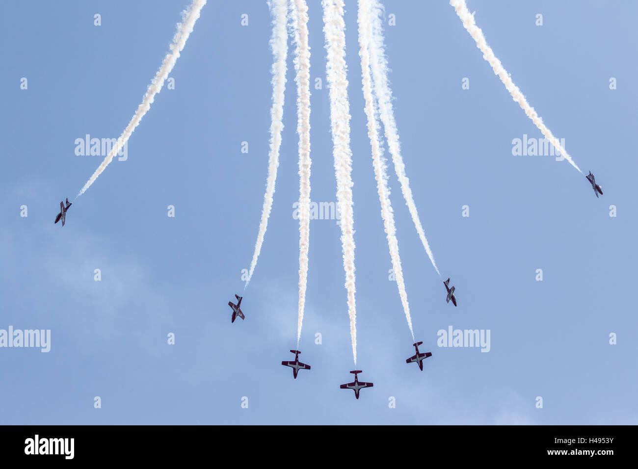 Seven Canadian Forces Snowbirds Execute a Downward Bomb Burst Stock Photo