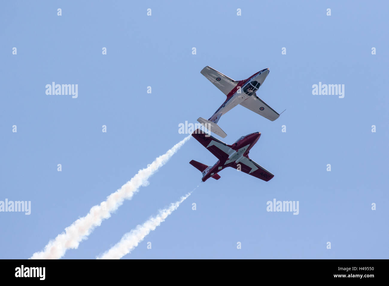 Two Canadian Forces Snowbirds Flying in a Classic Two-Plane Formation Stock Photo
