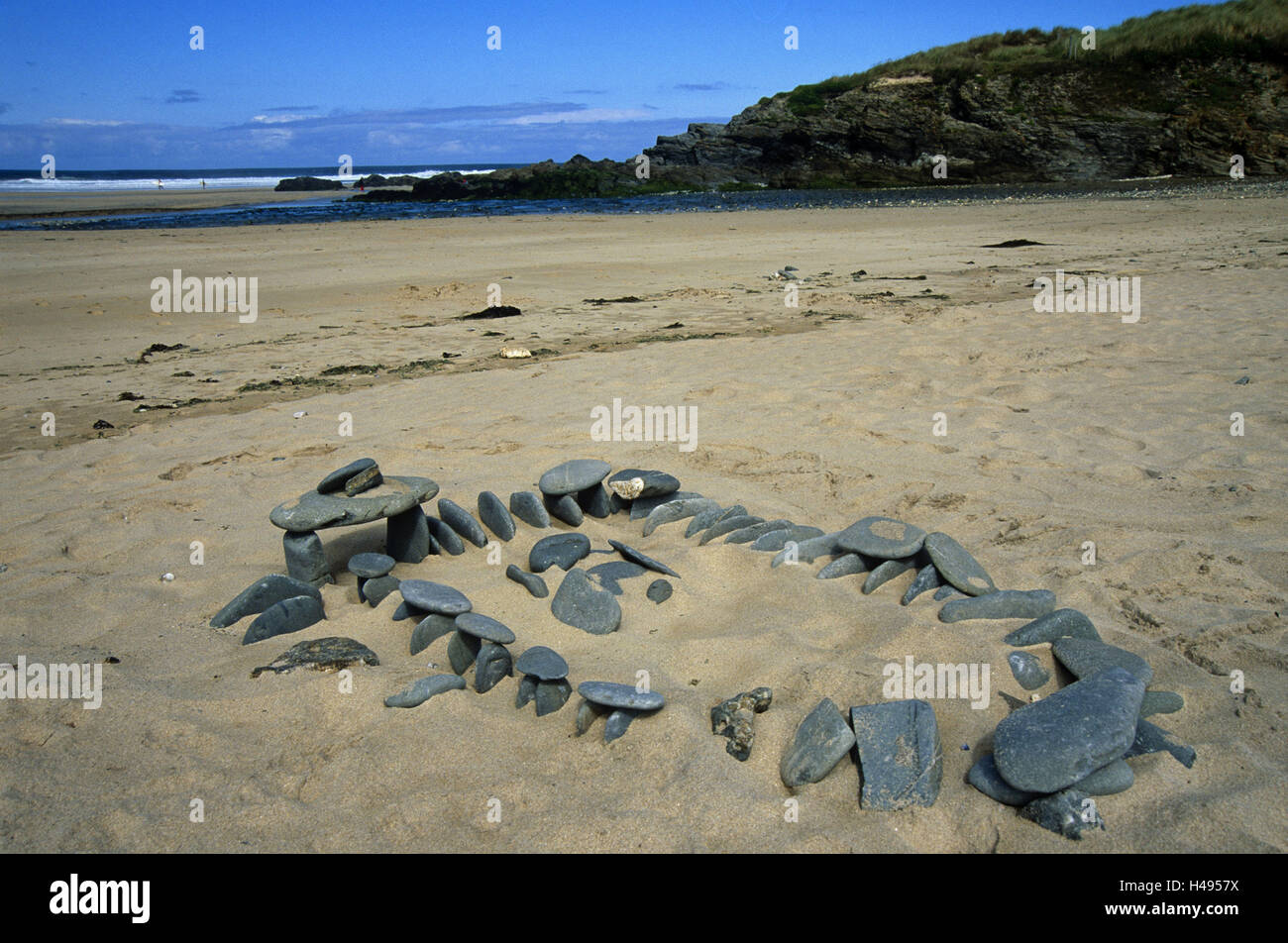 Great Britain, Cornwall, Gwithian, sandy beach, stone model, beach, stone model, miniature, replica, mysticism, - Stock Image