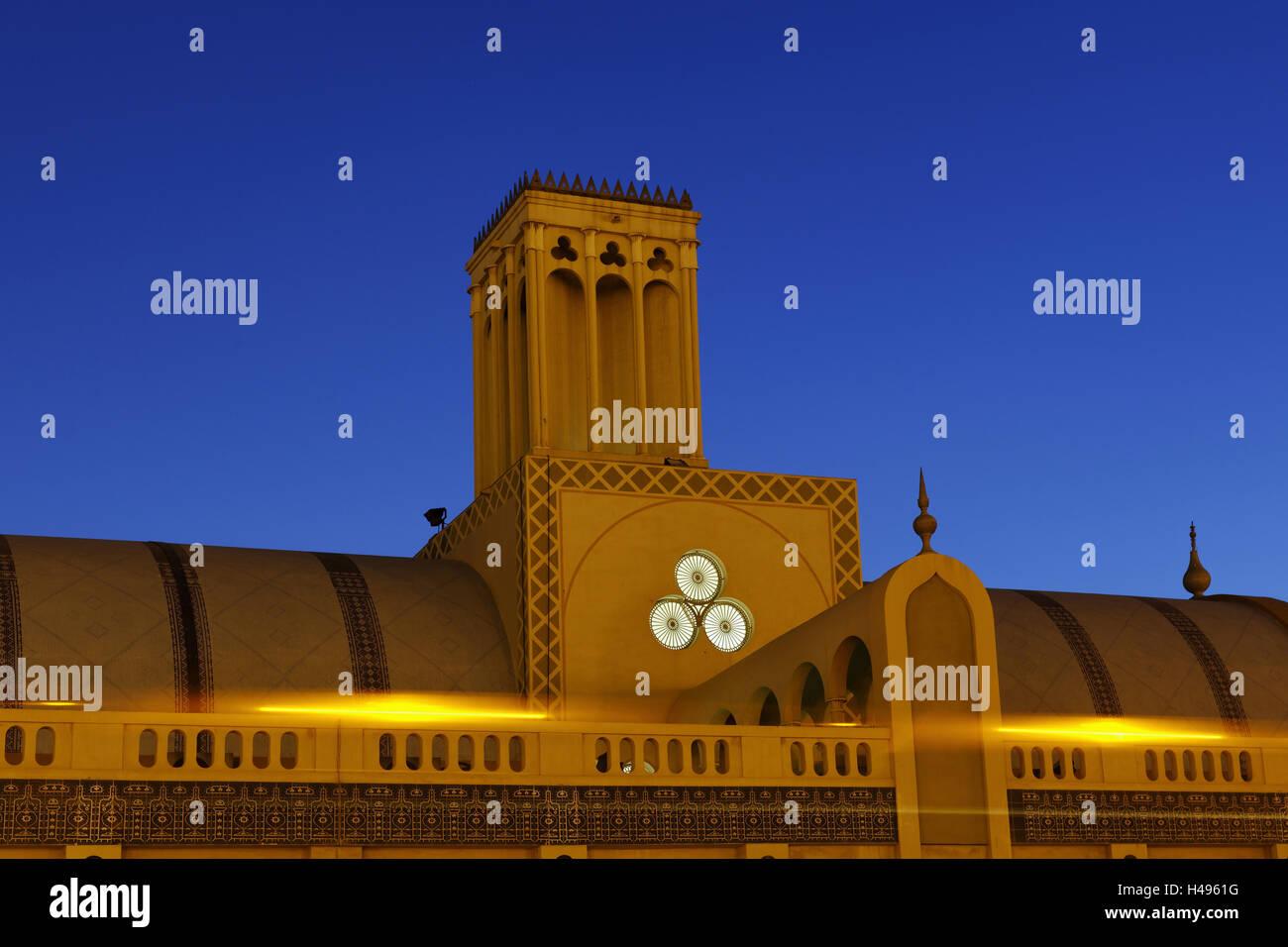 Old Souk 'Blue Souk', evening, dusk, traditional shopping centre, Emirate Sharjah, United Arab Emirates, - Stock Image