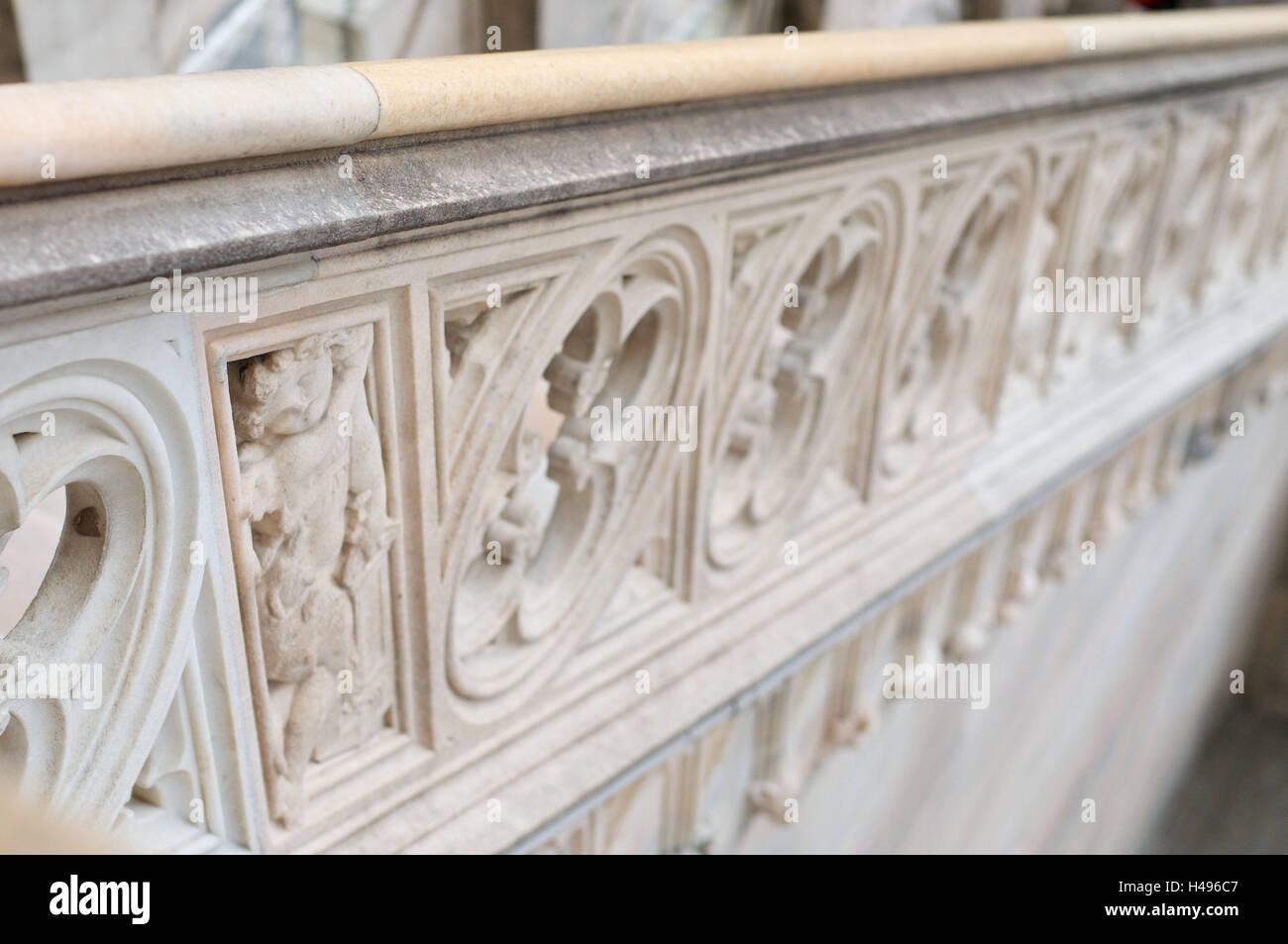 Handrail at stairs, railings, - Stock Image