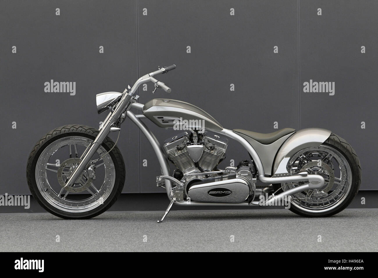 Motorcycle, chopper AMG, left page, silver, design motorcycle, - Stock Image