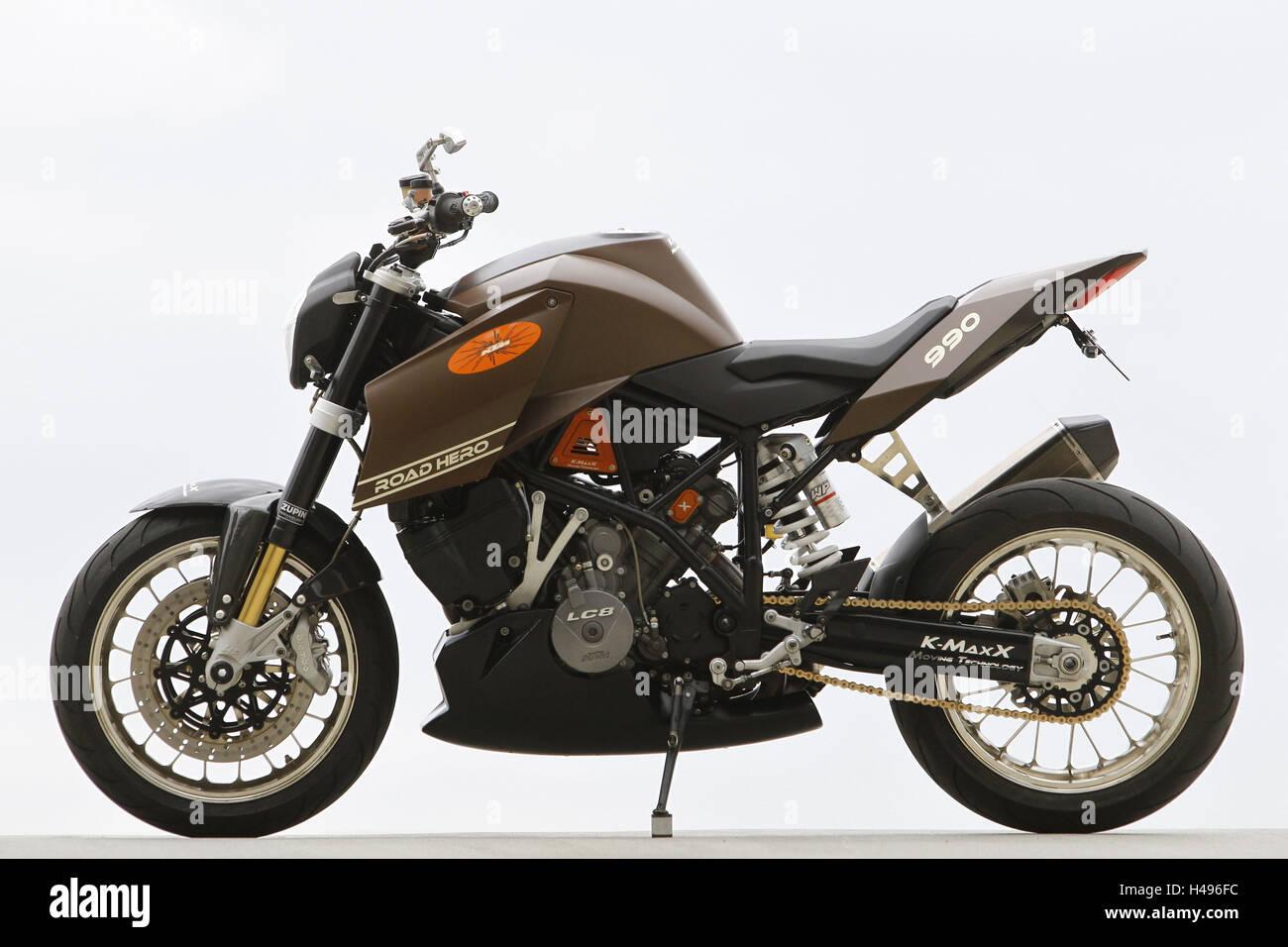 Motorcycle, KTM 990 Road Hero, left page, studio recording, Stock Photo