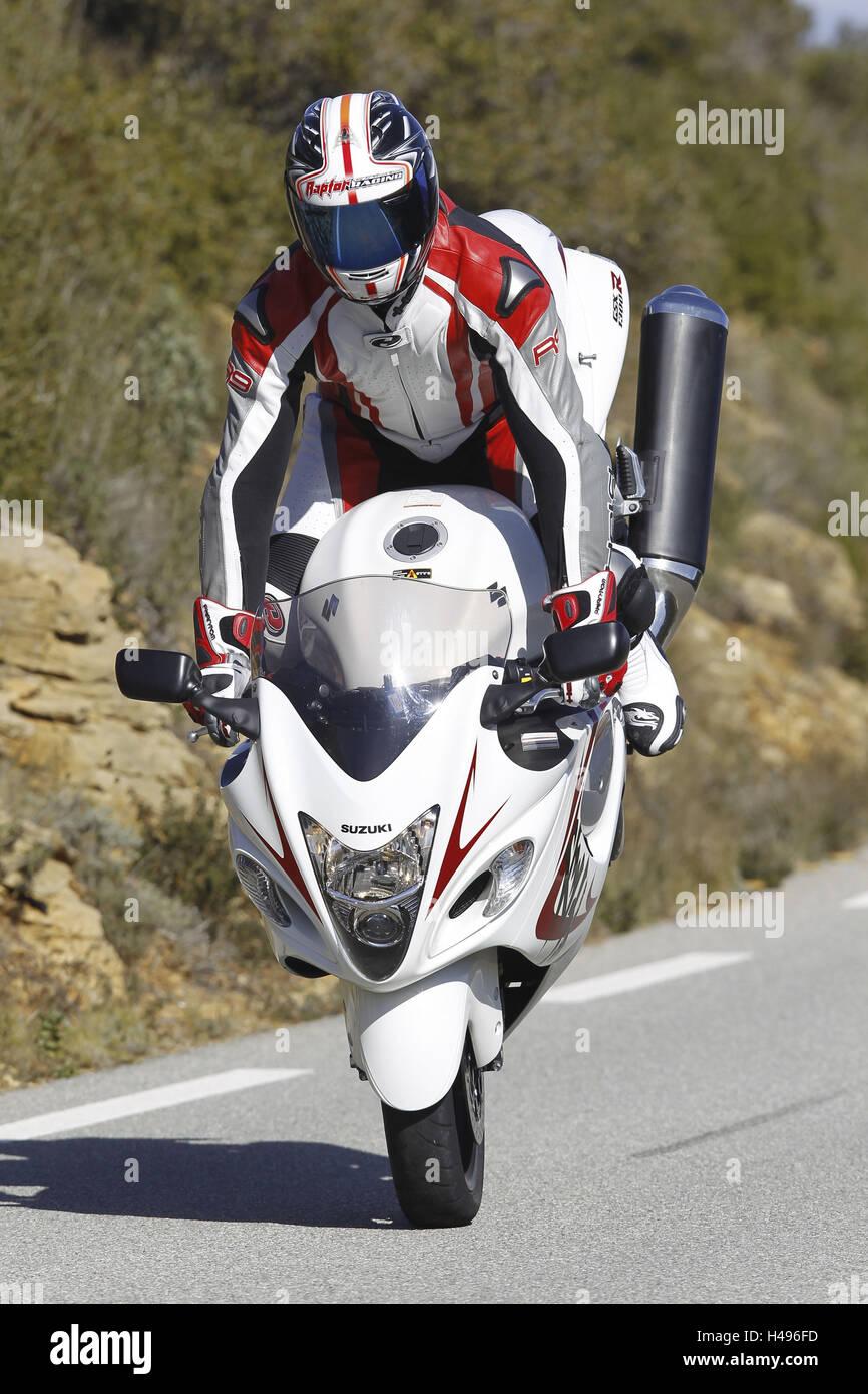 Motorcyclist, Stoppie, Sporttourer, Suzuki Hayabusa, extreme braking, country road, Stock Photo