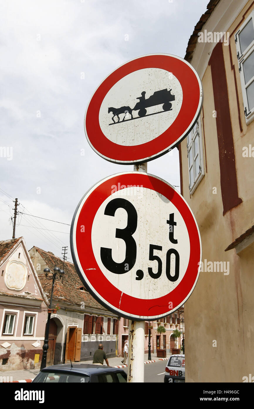 Romania, road signs, ban sign for horses and carts, - Stock Image