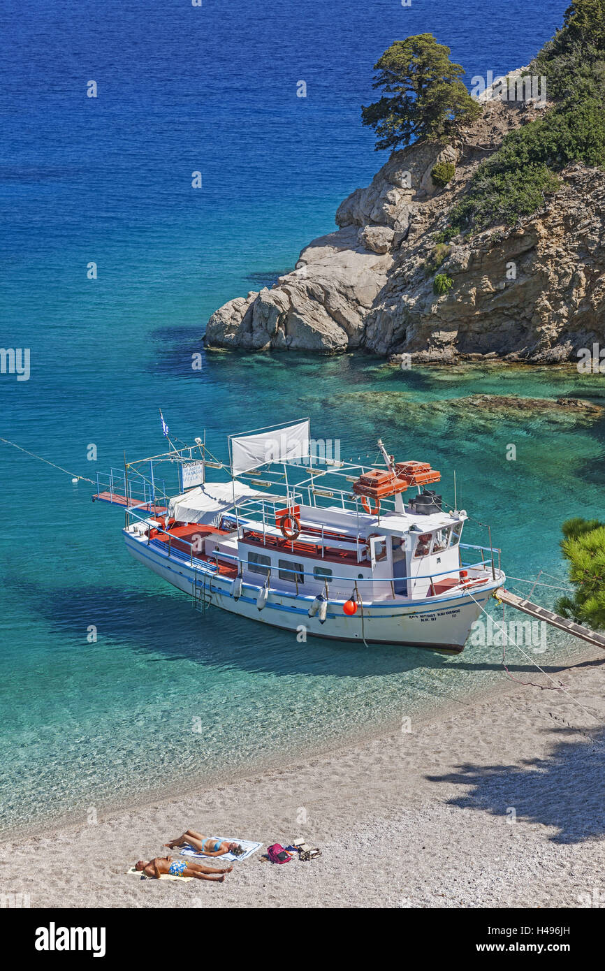 Greece, Karpathos, Apella, Bathing Bay, excursion boat, Stock Photo