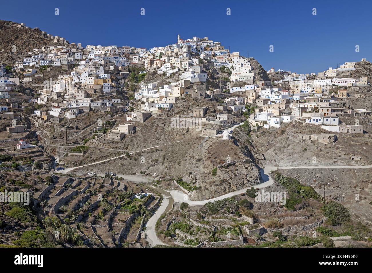 Greece, Karpathos, view at the mountain village of Olympos, Stock Photo