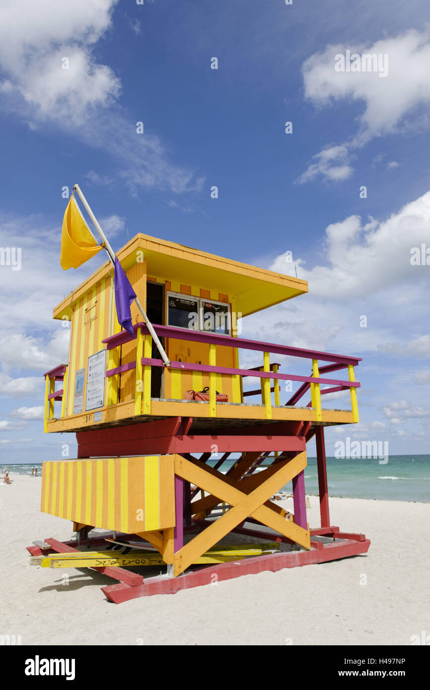 Beach lifeguard tower '3 STS', Atlantic Ocean, Miami South Beach, Art Deco District, Florida, USA, - Stock Image