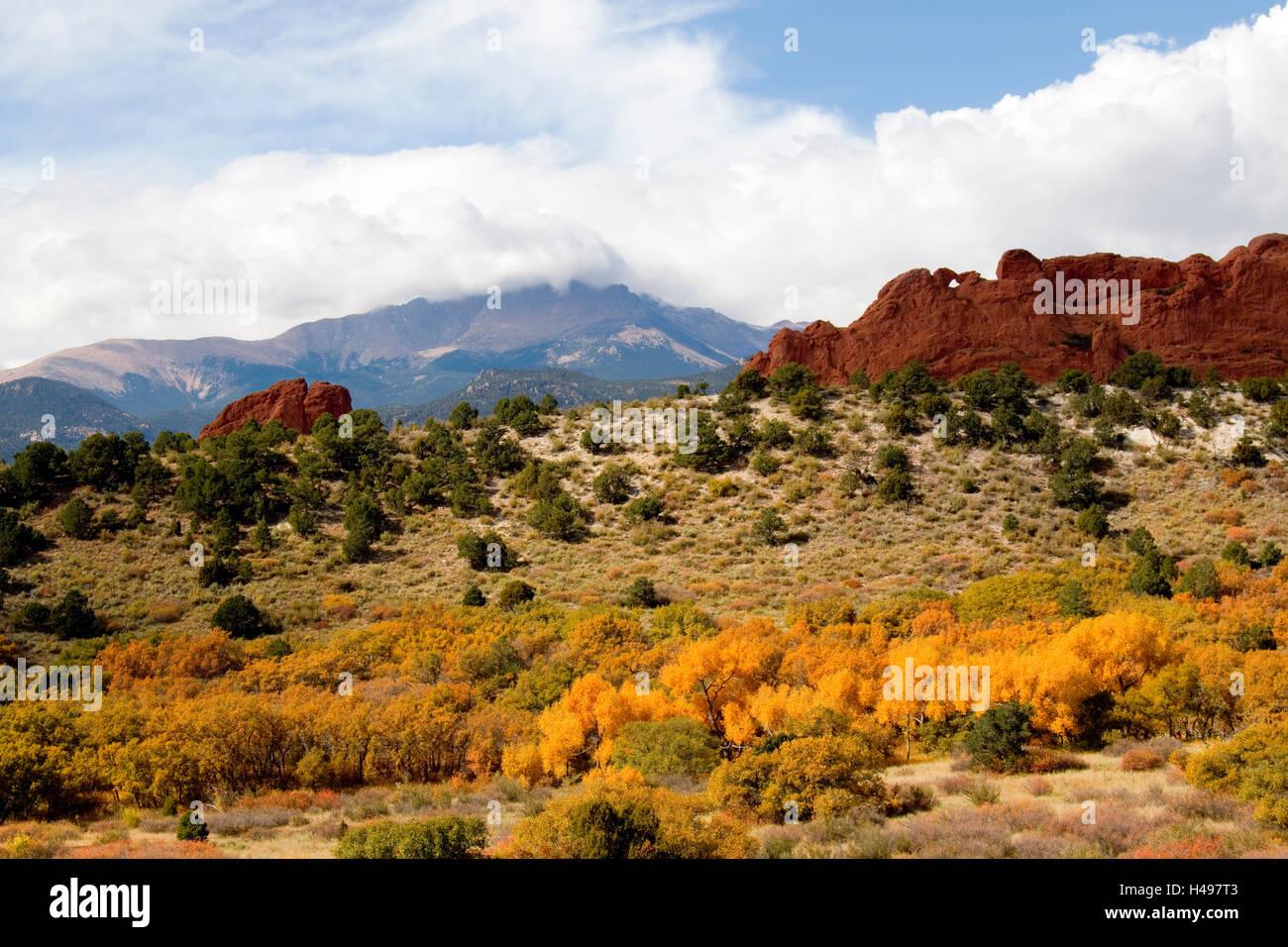 Autumn in Garden of the Gods Colorado - Stock Image