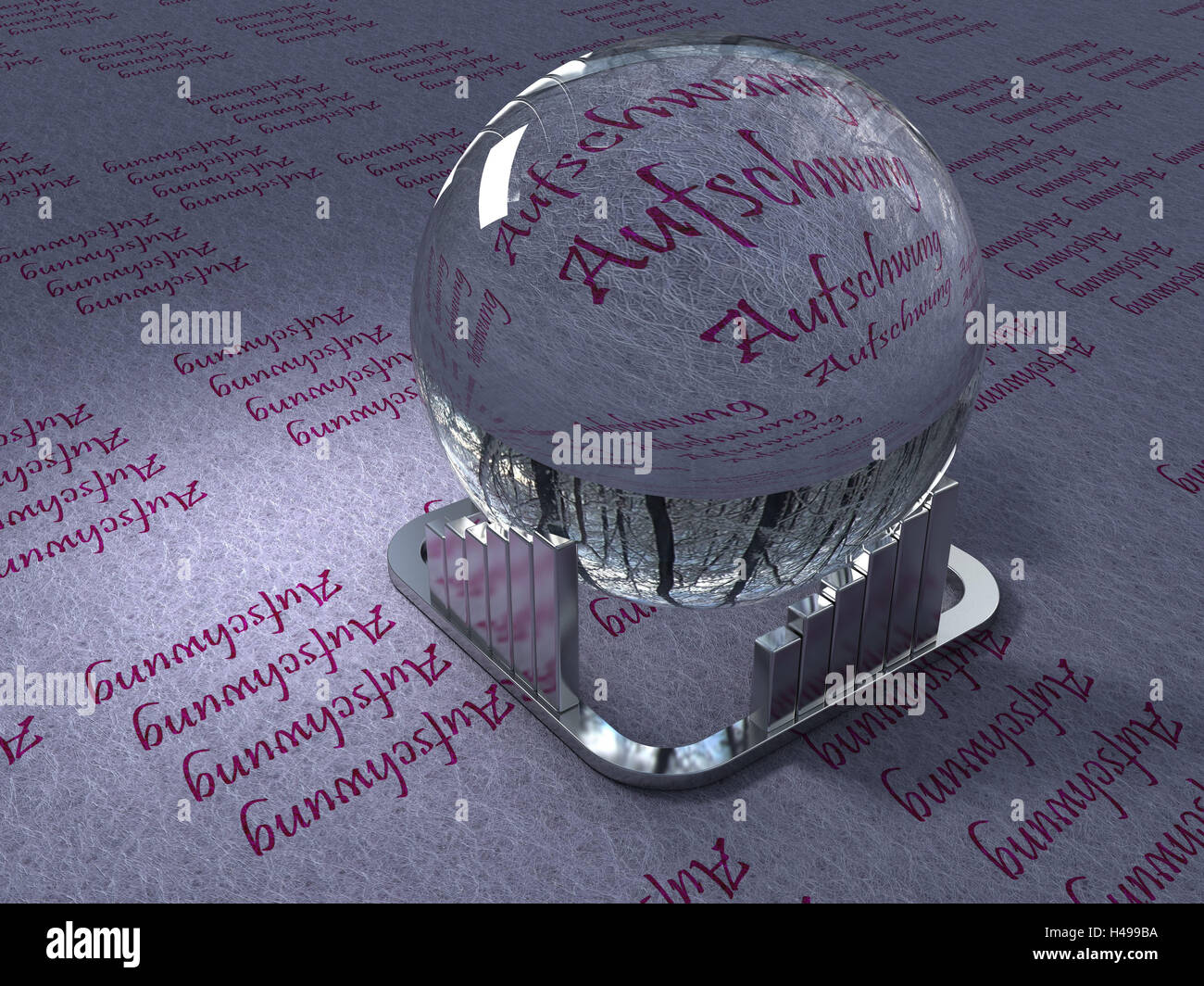 Crystal ball, impetus, computer graphics, glass ball, sphere, boom, words, economic situation, upward trend, 3D, - Stock Image