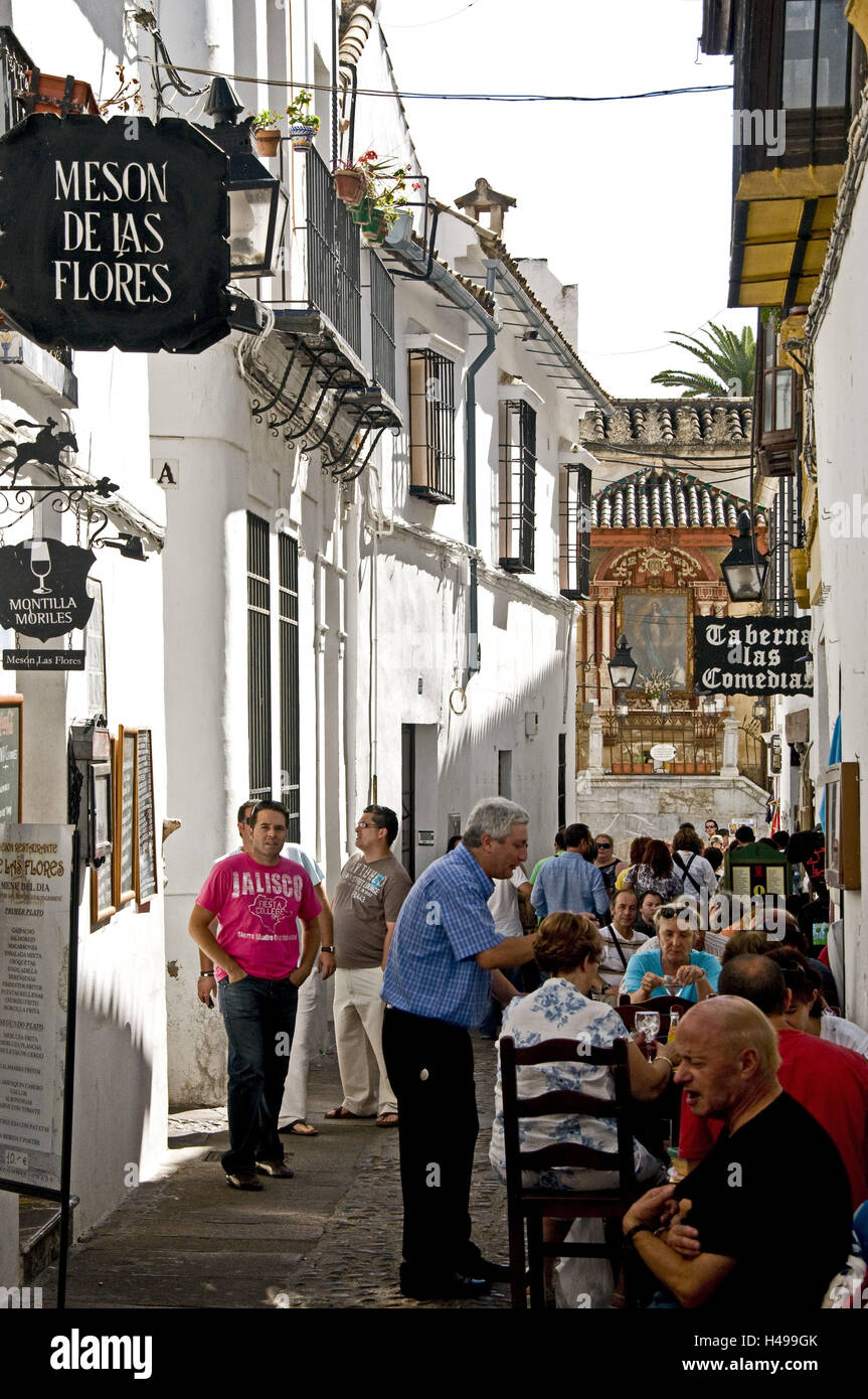Spain, Cordoba, Old Town, to call de Flores, restaurant, person, Stock Photo