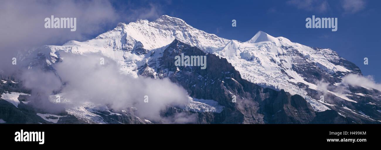 Jungfrau mountain in the Swiss Alps, near Wengen, Bernese Oberland, Switzerland - Stock Image