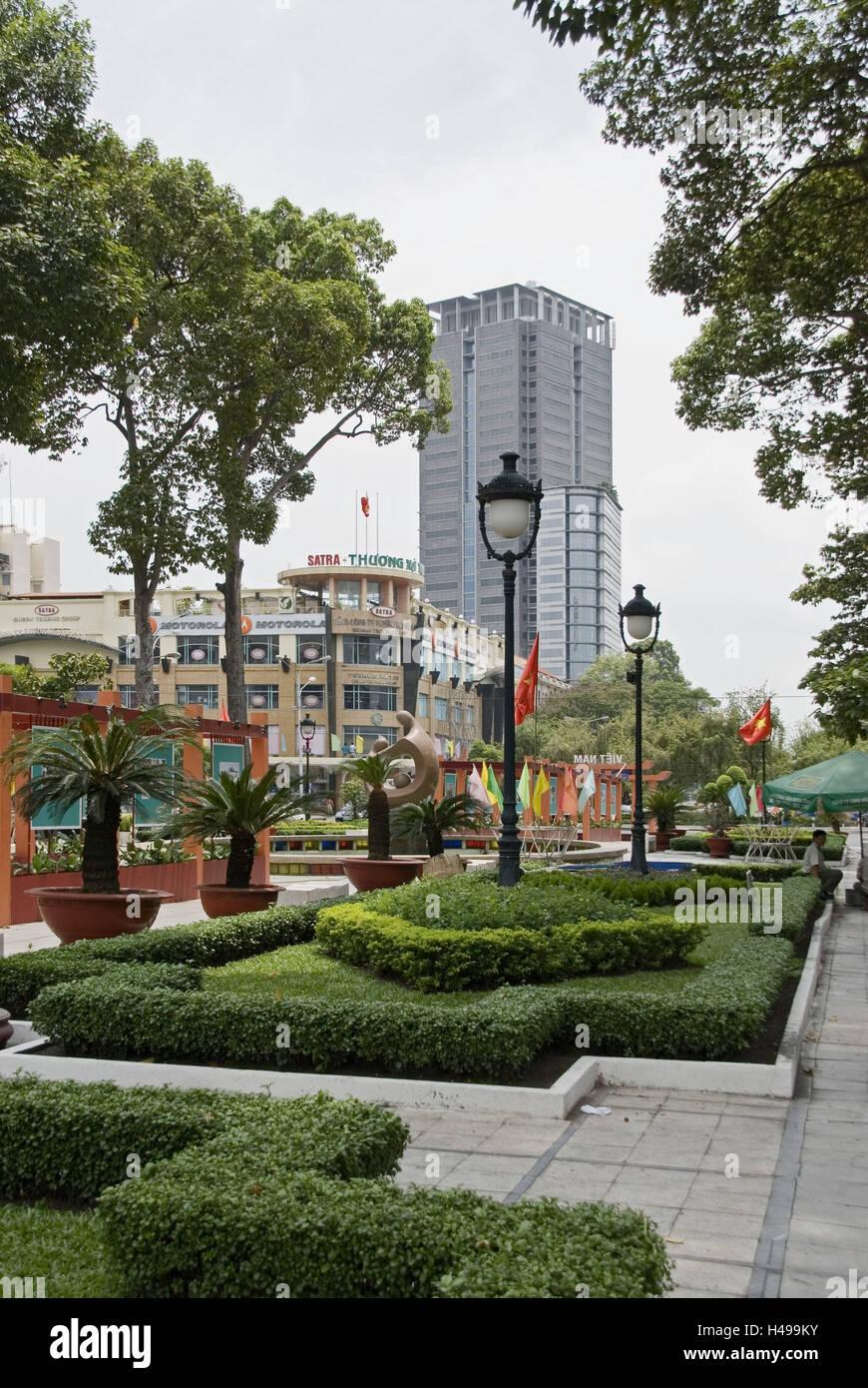 Vietnam, Ho Chi Minh City, park, high rise, offices, shops, - Stock Image