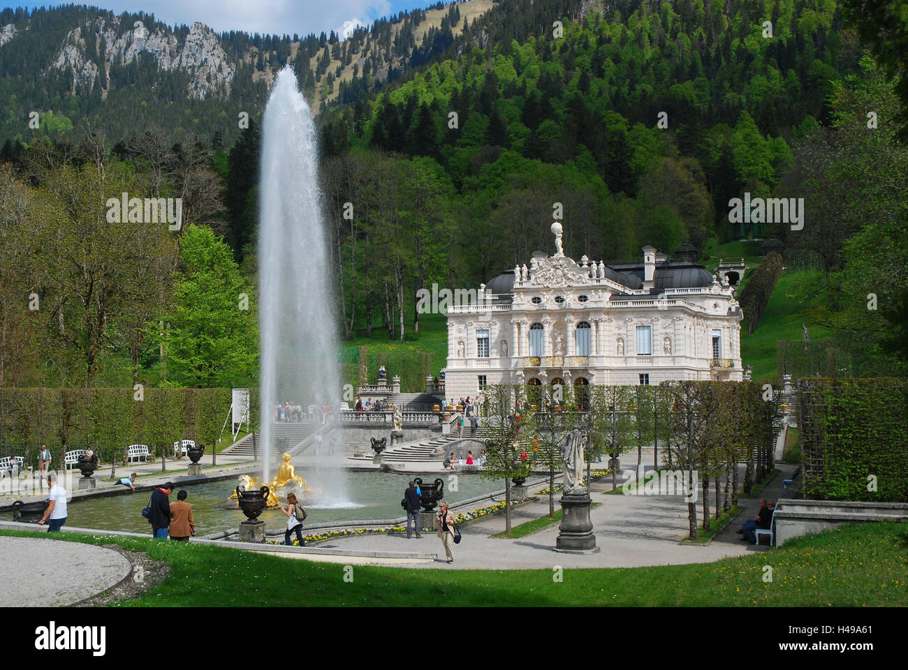 Germany, Bavaria, Ettal, lock, gentle court, water jet, visitor, no property release, South Germany, Upper Bavaria, - Stock Image