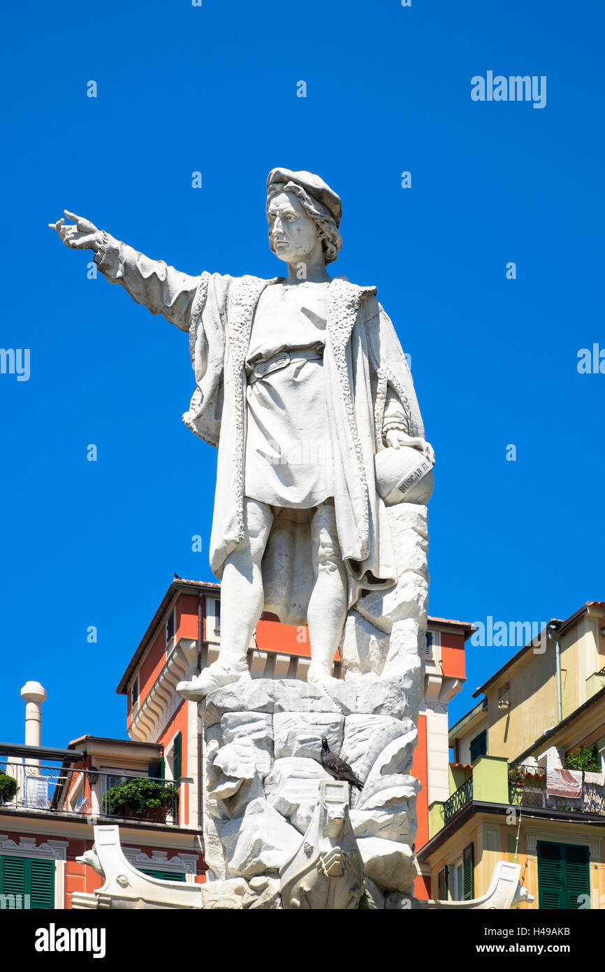 statue of Christopher Columbus in Santa Margherita Ligure, Italy. Stock Photo