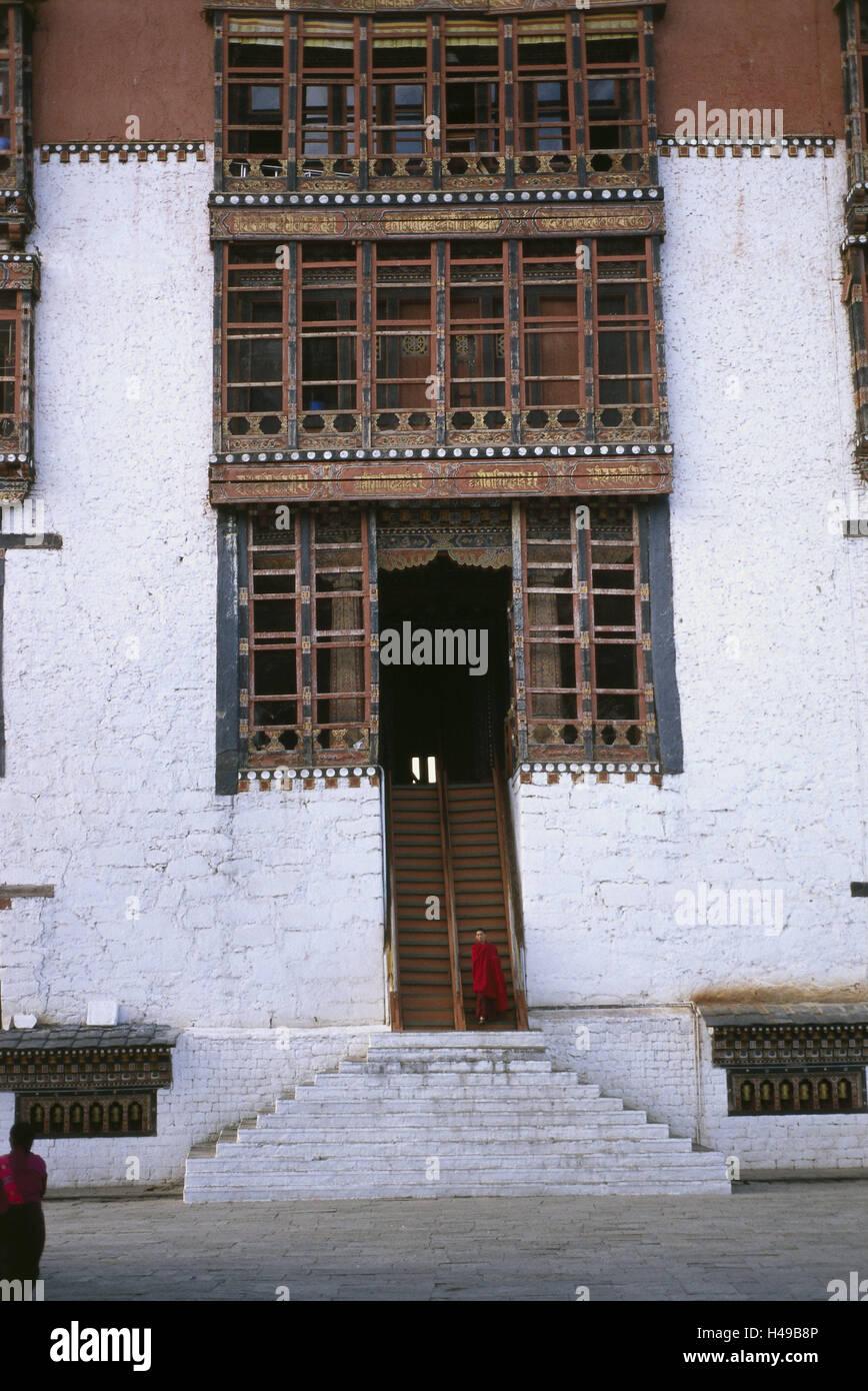 Bhutan, Thimphu, cloister fortress Dzong, stairs, monk, Asia, the Himalayas, kingdom, Westbhutan, capital, cloister, Stock Photo